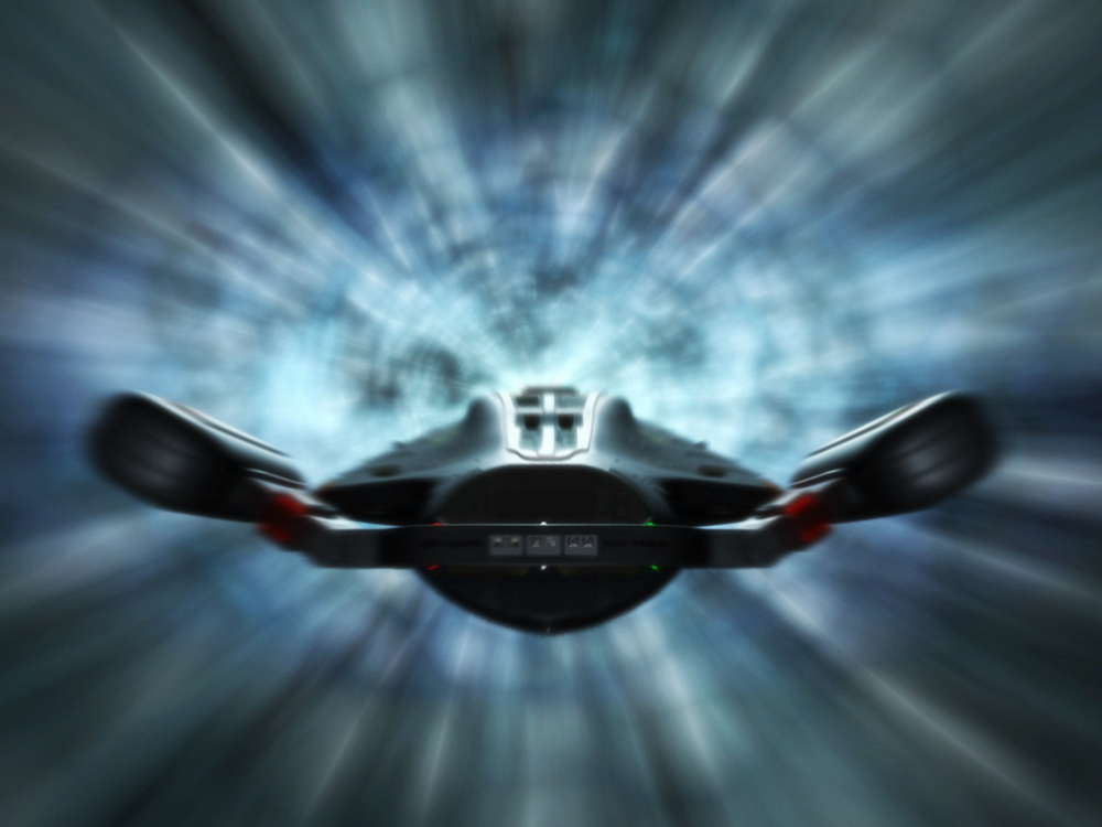 The USS Highlander travelling via slipstream.